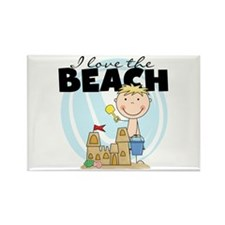 Blond Boy Love the Beach Rectangle Magnet (100 pac