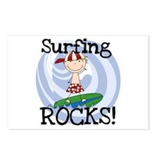 Boy Surfing Rocks Postcards (Package of 8)