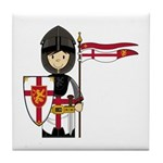 Cute Little Medieval Knight Tile Coaster