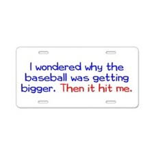 Baseball Hit Aluminum License Plate