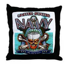 US Navy Skull and Bones Throw Pillow
