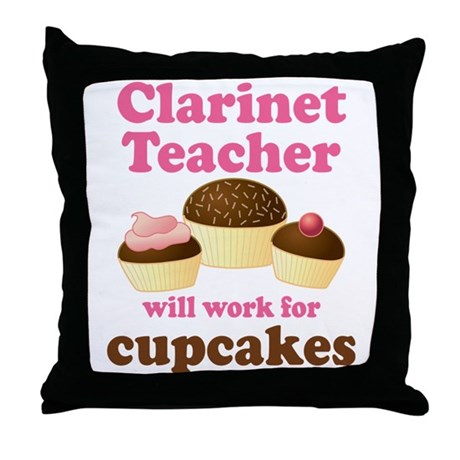 Funny Clarinet Teacher Throw Pillow
