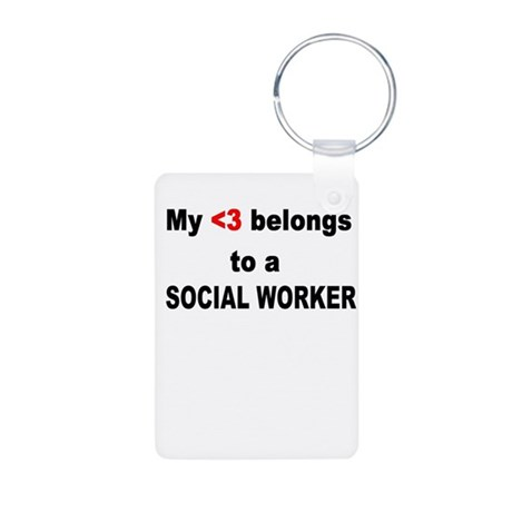 Social Worker Aluminum Photo Keychain