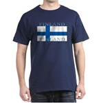 Finland Finish Flag Navy Blue T-Shirt