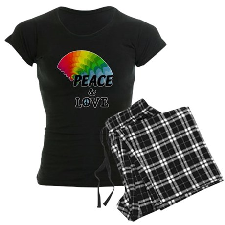 Rainbow Peace and Love Women's Dark Pajamas