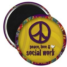 Peace, Love, & Social Work Magnet