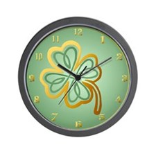 Green N Gold Shamrock Wall Clock