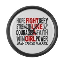 Fight Like A Girl Brain Cancer Large Wall Clock