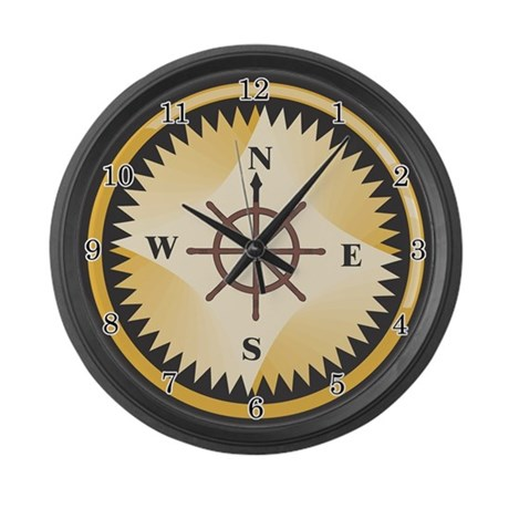 ships compass large wall clock by sagart