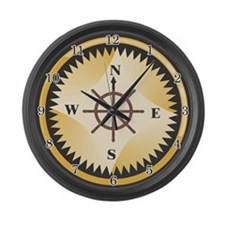 Ships Compass Large Wall Clock