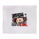 Fight Like A Girl Brain Cancer Throw Blanket