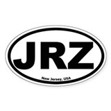 JRZ New Jersey Oval Bumper Stickers