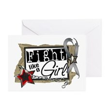Fight Like A Girl Brain Cancer Greeting Cards (Pk