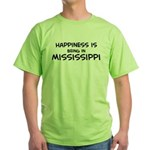 Happiness is Mississippi Green T-Shirt