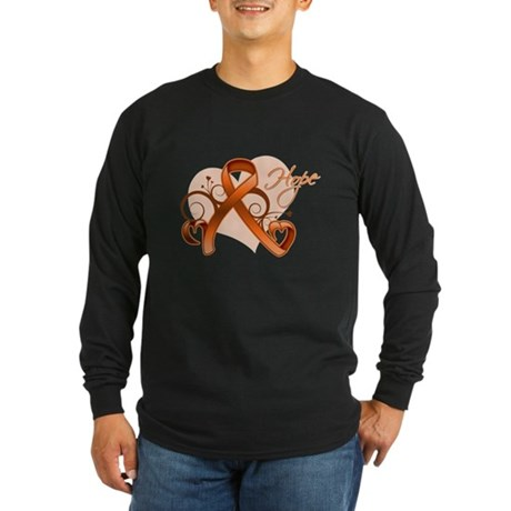 Hope Heart Multiple Sclerosis Long Sleeve Dark T-S