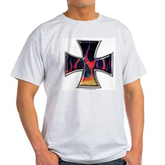 Flaming Iron Cross Ash Grey T-Shirt