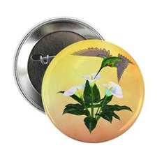 "Hummingbird on Lily 2.25"" Button (10 pack)"