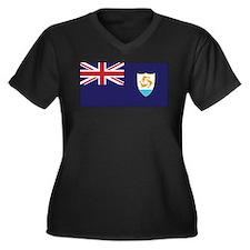 Anguilla Flag Women's Plus Size V-Neck Dark T-Shir