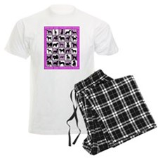Fighting Dogs Pink Plaid Brea Pajamas