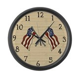 USA Flags Large Wall Clock