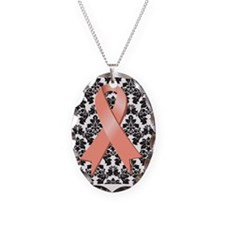 Damask Peach Ribbon Necklace Oval Charm
