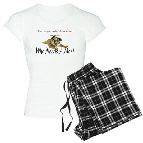 Bulldog 'Who Needs A Man' Women's Light Pajamas