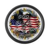 God Bless America Large Wall Clock 17inch