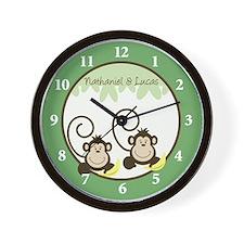 Silly Monkeys Wall Clock - Nathaniel & Lucas