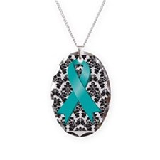Damask Teal Ribbon Necklace Oval Charm