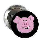 Smiling Pig Face Black Button