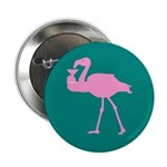 Pink flamingo with a martini on a teal Button
