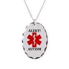 Autism Medical Alert Necklace Oval Charm