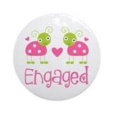 Ladybug Engagement Bride Ornament (Round)