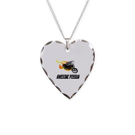 Flaming Awesome Possum Necklace Heart Charm