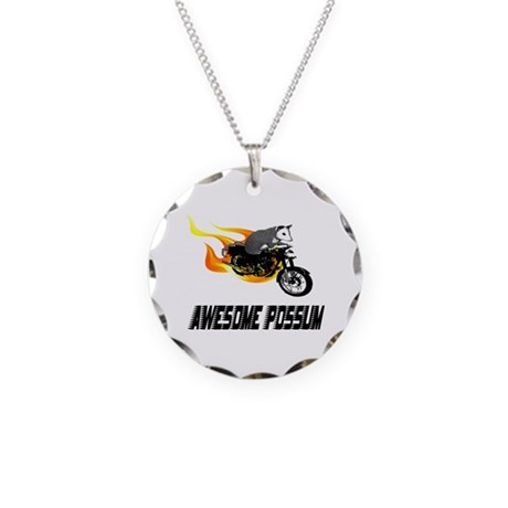 Flaming Awesome Possum Necklace Circle Charm