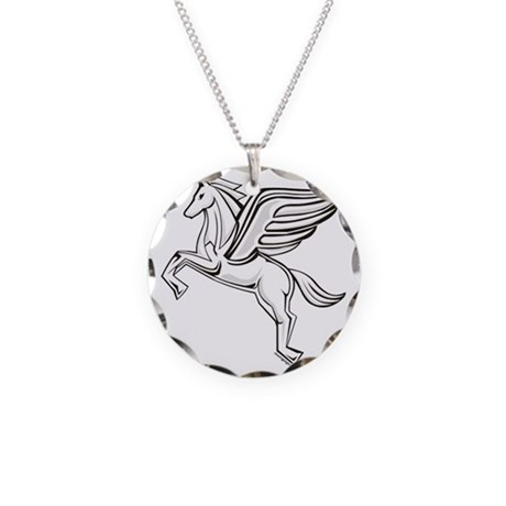 Chasing Pegasus Necklace Circle Charm