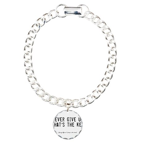 Give Up Quote Charm Bracelet, One Charm