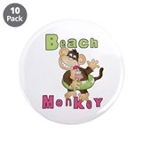 "Green Beach Monkey 3.5"" Button (10 pack)"