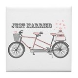 Tandem Bicyle Wedding Tile Coaster