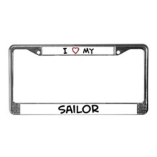 I Love Sailor License Plate Frame