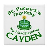 First Birthday for Cayden Tile Coaster