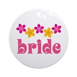 Bride Hawaiian Tropical Flowers Ornament (Round)