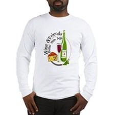 wine friends cheese aged Long Sleeve T-Shirt