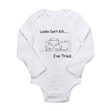 Looks Can't Kill (cat) Long Sleeve Infant Bodysuit