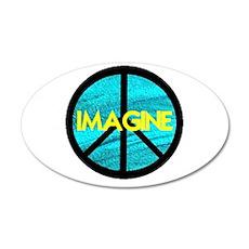 IMAGINE with PEACE SYMBOL 38.5 x 24.5 Oval Wall Pe