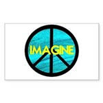 IMAGINE with PEACE SYMBOL Sticker (Rectangle 10 pk