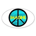 IMAGINE with PEACE SYMBOL Sticker (Oval)