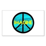 IMAGINE with PEACE SYMBOL Sticker (Rectangle)