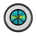 IMAGINE with PEACE SYMBOL Large Wall Clock
