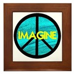 IMAGINE with PEACE SYMBOL Framed Tile